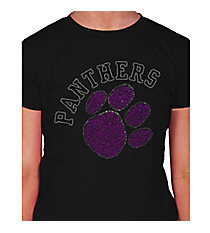 Purple Paw and Team Name Ladies Short Sleeve Fitted T-Shirt 14900 *Choose Your Team Name!