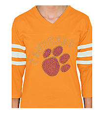 Purple Paw and Team Name Ladies Football Tee 14900 *Choose Your Team Name!