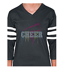 "Glittering ""Liquid Cheer"" Ladies Football Tee 9.25"" x 9.5"" Design 14968 *Choose Your Shirt Color"