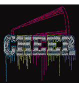 "Glittering ""Liquid Cheer"" 9.25"" X 9.5"" Rhinestone Applique Iron-On #14968"