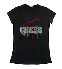 "Glittering ""Liquid Cheer"" Ladies Short Sleeve Fitted T-Shirt 9.25"" x 9.5"" Design 14968 *Choose Your Shirt Color"