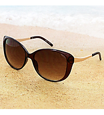 One Pair Amber and Gold Retro Sunglasses #14F308