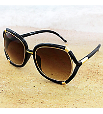 One Pair Goldtone Accented Black Sunglasses #14F334ented Black Sunglasses #14F334