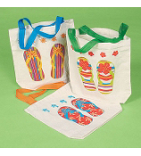 ONE FLIP FLOP PRINT CANVAS TOTE BAG #14/256 ASSORTED