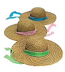 6 Sun Hats with Solid Band #15/372