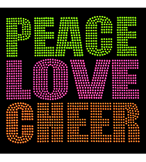 "Neon ""Peace Love Cheer"" 8"" X 7.75"" Rhinestud Applique Iron-On #15252"