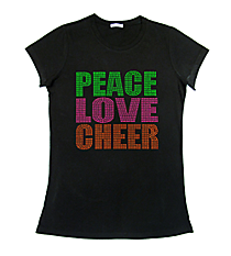 "Neon ""Peace Love Cheer"" Ladies Short Sleeve Fitted T-Shirt 8"" x 7.75"" Design 15252 *Choose Your Shirt Color"