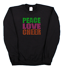 "Neon ""Peace Love Cheer"" Heavy-weight Crew Sweatshirt 8"" x 7.75"" Design 15252 *Choose Your Shirt Color"