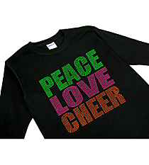"Neon ""Peace Love Cheer"" Youth Long Sleeve Relaxed T-Shirt 8"" x 7.75"" Design 15252 * Choose Your Shirt Color"