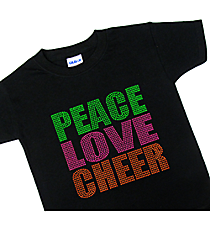 "Neon ""Peace Love Cheer"" Youth Short Sleeve Relaxed Fit T-Shirt 8"" x 7.75"" Design 15252 *Choose Your Shirt Color"
