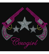 "Glittering ""Cowgirl""  9.75"" X 9.75"" Rhinestone Applique Iron-On #15253"
