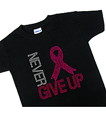 "Sparkling ""Never Give Up"" Youth Short Sleeve Relaxed Fit T-Shirt 8.25"" X 8.25"" Design 15294 *Choose Your Shirt Color"