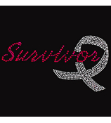 "Sparkling ""Survivor"" 7"" X 3.5"" Rhinestone Applique Iron-On #15299"