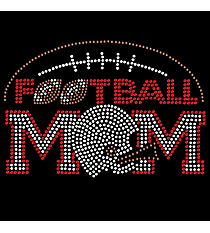 "Sparkling ""Football Mom"" 5"" X 7.5"" Rhinestone Applique Iron-On #15444"