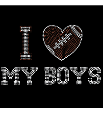 "Sparkling ""I Love My Boys"" 5"" X 8.25"" Rhinestone Applique Iron-On #15445"
