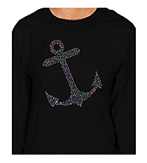"Sparkling Multi-Color Anchor Long Sleeve Relaxed Fit T-Shirt 9"" x 7"" Design 15452 *Choose Your Shirt Color"
