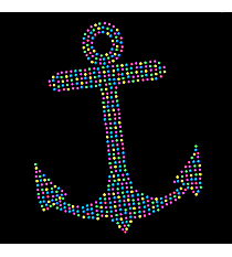 "Sparkling Multi-Color Anchor 9"" X 7"" Rhinestone Applique Iron-On #15452"