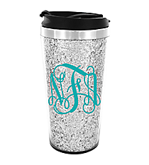 Glittering Silver 16 oz. Stainless Steel Travel Tumbler #F155503