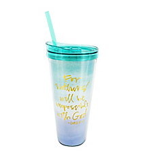 Luke 1:37 Nothing Impossible 22 oz. Double Wall Tumbler with Straw #F155641