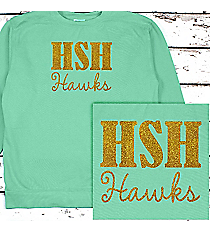 School Initials and Team Name Comfort Colors Adult Crew-Neck Sweatshirt #1566 *Personalize Your Text and Colors