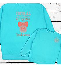 Tailgates and Touchdowns Mason Jar Monogram Comfort Colors Adult Crew-Neck Sweatshirt #1566 *Personalize It!