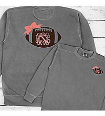 Football Bow Monogram Comfort Colors Adult Crew-Neck Sweatshirt #1566 *Choose Your Colors
