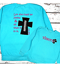 Football Cross Comfort Colors Adult Crew-Neck Sweatshirt #1566 *Personalize Your Text and Colors