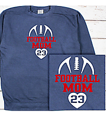 Football Heart Comfort Colors Adult Crew-Neck Sweatshirt #1566 *Personalize Your Text and Colors