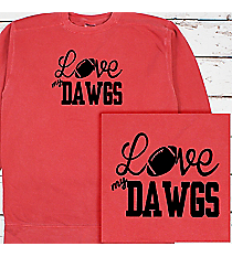 Love My Football Team Comfort Colors Adult Crew-Neck Sweatshirt #1566 *Personalize Your Team and Colors