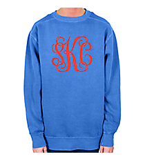 Large Monogram Comfort Colors Adult Crew-Neck Sweatshirt #1566 *Customizable