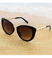 One Pair Retro Black Sunglasses with Gold Bamboo Arms #15F107