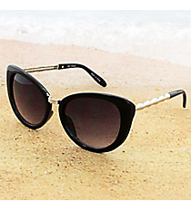 One Pair Retro Black Sunglasses with Silver Bamboo Arms #15F107