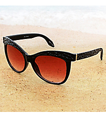 One Pair Cobblestone Textured Black Sunglasses with Red Lenses #15F124