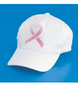 1 White Baseball Cap with Embroidered Pink Ribbon #15/208