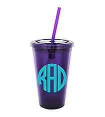 Purple 16 oz. Double Wall Tumbler with Straw #WA334004-PU