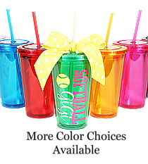 Softball 16 oz. Double Wall Tumbler with Straw #WA334004 *Personalize Your Colors and Text