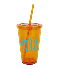 Tangerine 16 oz. Double Wall Tumbler with Straw #WA334004-TG