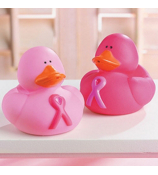 One Dozen Pink Ribbon Rubber Duckies #16/836