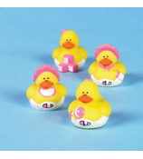 Two Dozen Mini Baby Girl Rubber Duckies #16/985