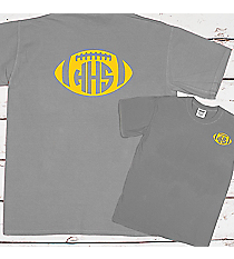 Football with School Initials Comfort Colors Adult Ring-Spun Cotton Tee #1717 *Personalize Your Text and Colors