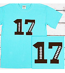 Football Number Comfort Colors Adult Ring-Spun Cotton Tee #1717 *Personalize It!