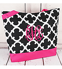 Market Shopping Tote in Black and White Moroccan with Dark Pink Trim #18-11-BW-P