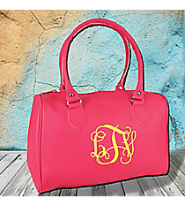 Hot Pink Leather Barrel Satchel #SW181355