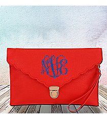Red Scalloped Envelope Clutch Bag #SW181505