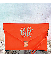Orange Scalloped Envelope Clutch Bag #SW181507