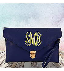 Royal Blue Scalloped Envelope Clutch Bag #SW181512