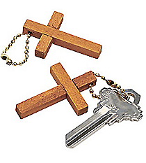 12 Wooden Cross Key Chains #19/145