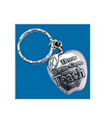 ONE DOZEN APPLE-SHAPED TEACHER KEY CHAINS #19/177
