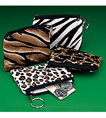 ONE DOZEN RECTANGLE ANIMAL PRINT COIN PURSES WITH KEY RING #19/386-ASSORTED