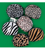 ONE DOZEN ANIMAL PRINT COIN PURSES #19/160